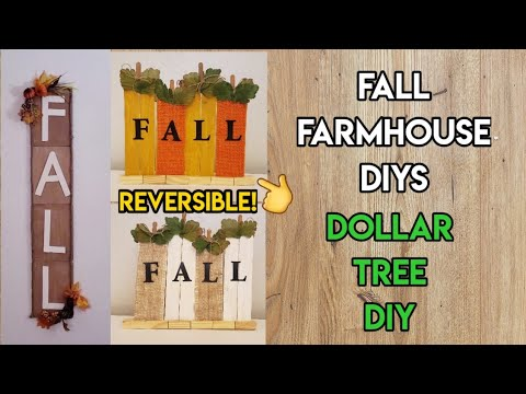 NEW! FARMHOUSE FALL DECOR SIGNS! DOLLAR TREE DIY