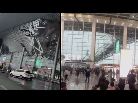 Disaster at Nanchang airport China - two views of catastrophic architectural failure!