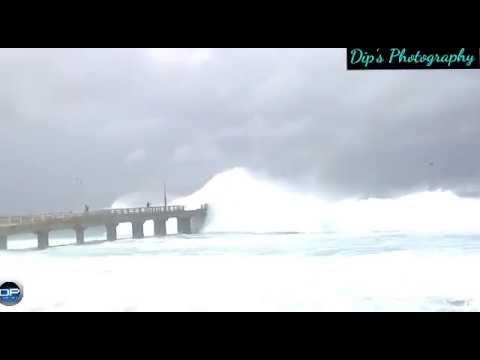 Vizag Sea Beach | Stormy Waves flows over the Bridge