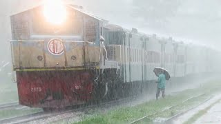 Train in Extremely Heavy Rain , exclusive Coverage of Bangladesh Railway One Awesome Rainy Day