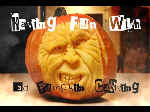 Having Fun With 3-D Pumpkin Carving - Halloween Fun