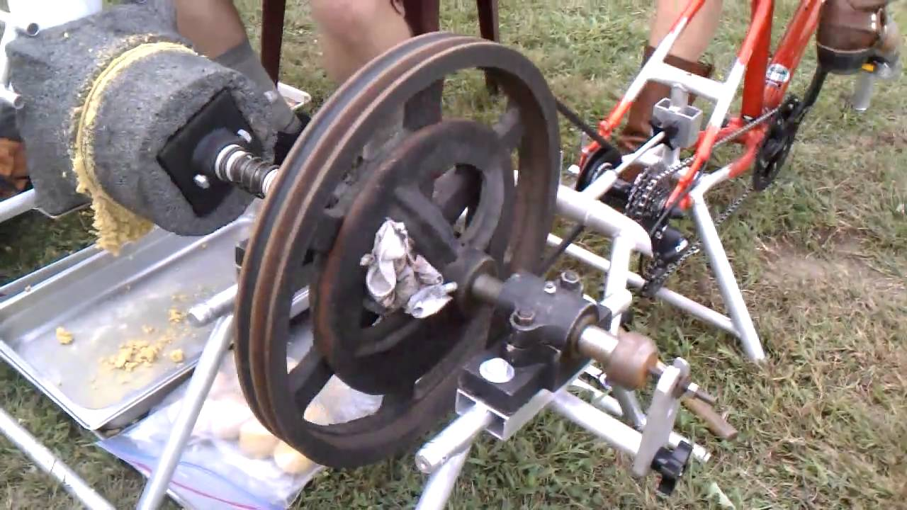 Bicycle powered corn mill youtube ccuart Images
