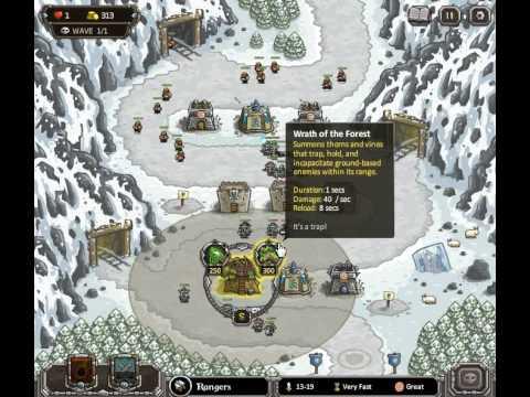 Kingdom Rush - Walkthrough - Stage Seven - Cold Stepmines - Iron Challenge -