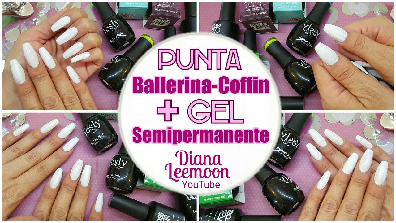PUNTA BALLERINA - COFFIN ○ GEL SEMIPERMANENTE EN UÑA ACRÍLICA ...