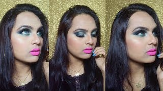 Smokey Green Cut Crease glitter eye makeup | GLAM YOUR FACE