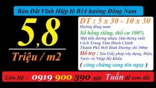 Bán Đất Vĩnh Hiệp ( đô thị mới ) lô VH-B14 hướng Đông Nam giá rẻ