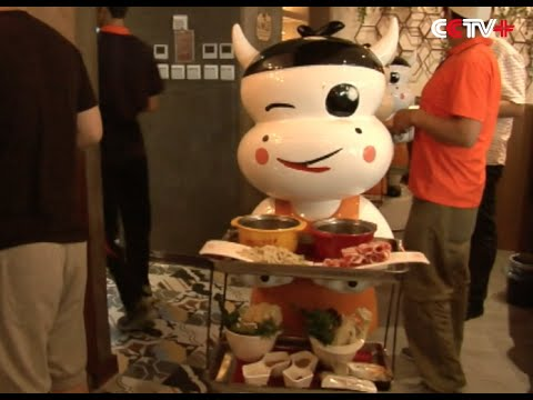 Robots Serve at Restaurant in East China City
