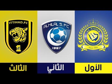 جميع الأندية الفائزة بلقب الدوري السعودي من 1975 إلى 2018   الهلال يكتسح
