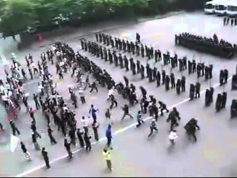 korean riot police squad using ancient roman techniques