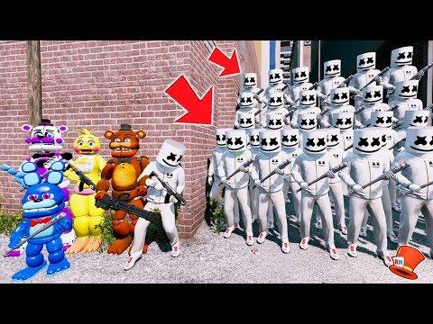 CAN THE ANIMATRONICS & MARSHMELLO DEFEAT THE EVIL MARSHMELLO ARMY? (GTA 5 Mods FNAF Kids RedHatter)