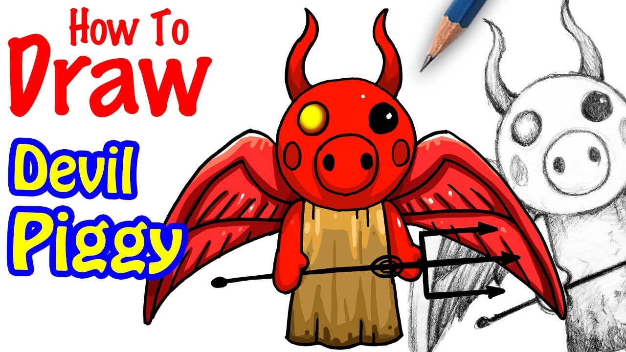 How To Draw Piggy Devil From Roblox Youtube