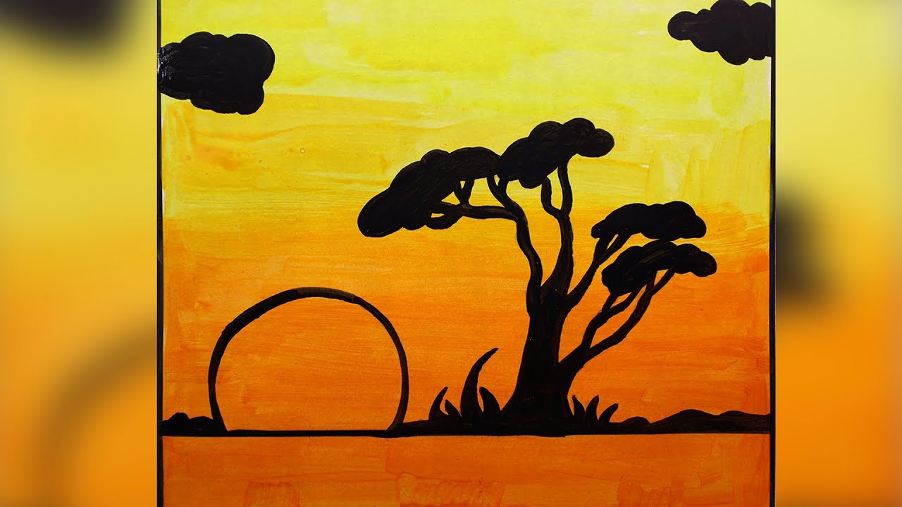 How To Paint Beautiful Scenery With Acrylic Colors For Beginners Simple Easy Art Silly Kids