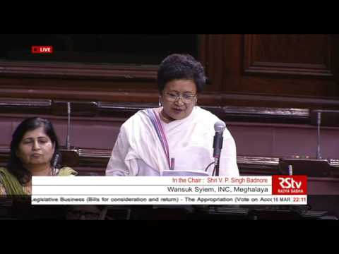 Smt. Wansuk Syiem's comments on the General Budget & Appropriation Bills, 2016