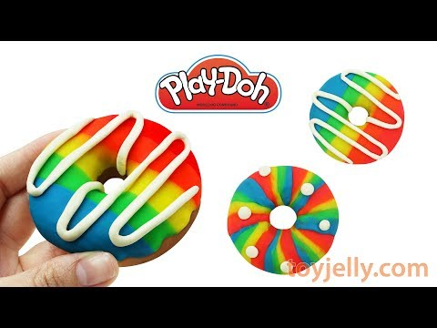 How to Make Play Doh Rainbow Doughnut Learn Colors Kinder Joy Surprise Eggs Baby Finger Song for Kid