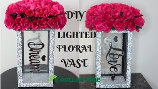 DIY DOLLAR TREE LIGHTED FLORAL VASE