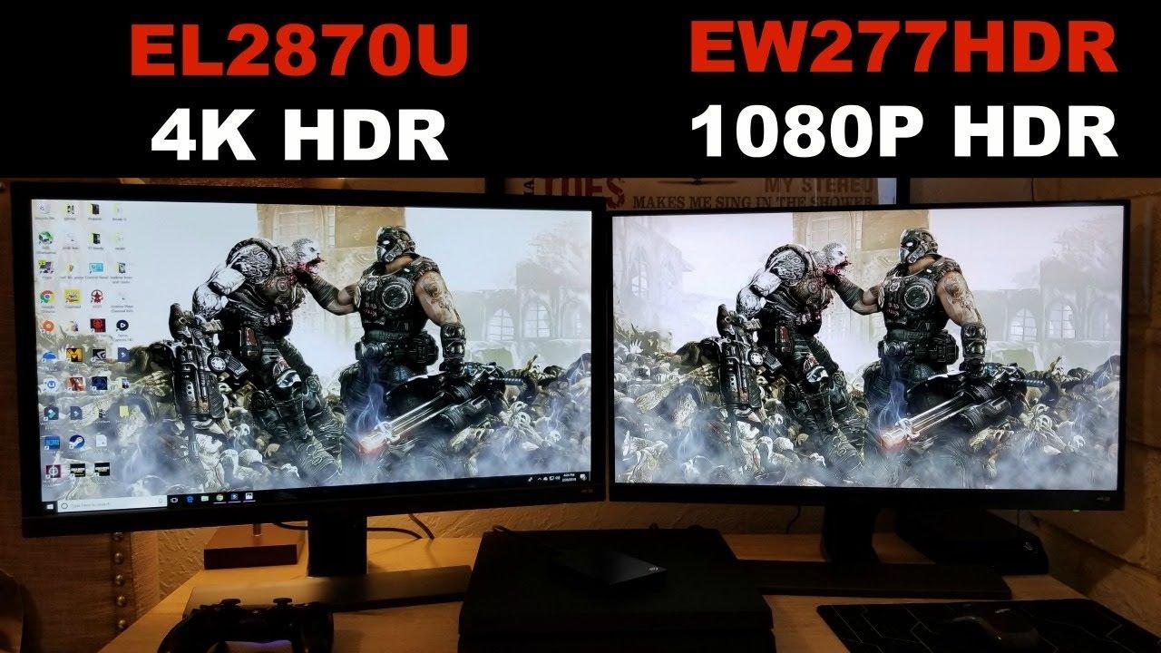 BenQ EL2870U vs EW277HDR side by side - YouTube