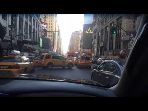 Driving down Broadway street To Manhattan New York
