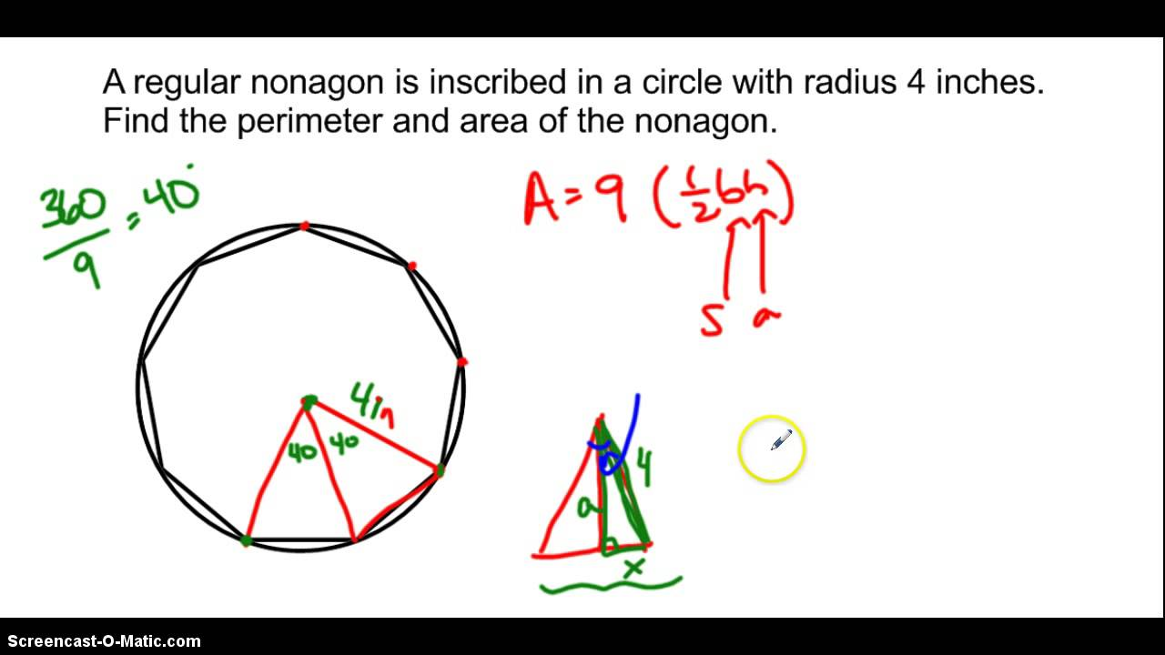 Find Area Of Regular Polygon Given Radius