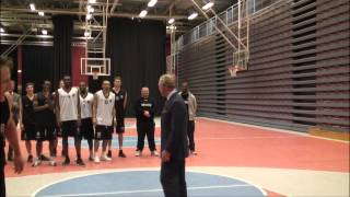 Scandinavia Tour: The Prince of Wales plays basketball with young people at Fryshuset Youth Centre