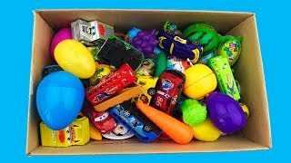 Box Full Of Toys Police Cars Disney Car Action Figures Learn Vegetables Fruits Names Sounds For Kids