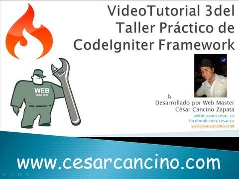 VideoTutorial 3 del Taller Práctico de Codeigniter Framework. Trabajando con Layout