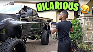 FUNNIEST moments washing my F-250 on 30s !