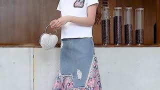 다이쿠나 페이즐리 콤비 데님 스커트 + 티셔츠 세트