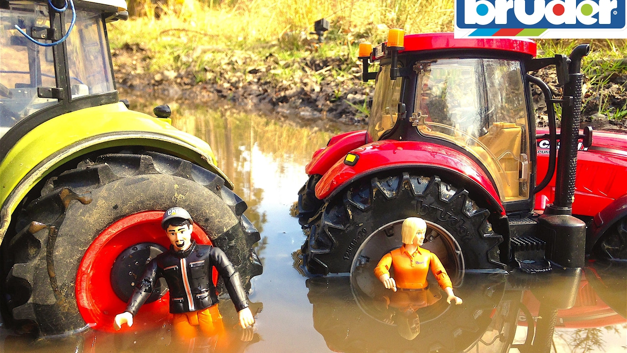 bruder toys tractors in the mud  youtube