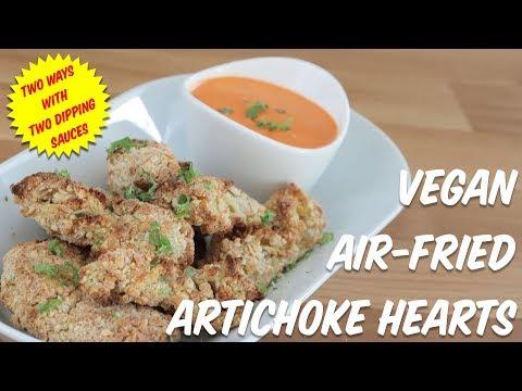 Vegan Air-Fried Artichoke Hearts Two Ways + Two Sauces (Buffalo Artichoke Hearts)