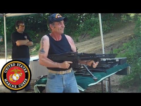 Vietnam Veteran on an M60 Machine Gun