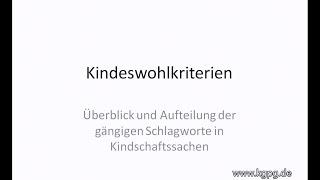 Kindeswohlkriterien | kgpg.de