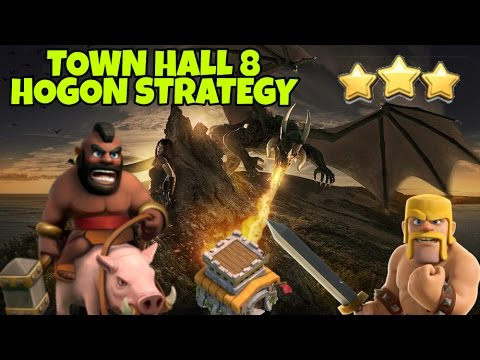 HOGON : HOGS + DRAGONS (NO BOWLERS) | BEST TH8 WAR ATTACK STRATEGY |CLASH  OF CLANS 2017