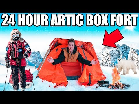 24 HOUR ARCTIC BOX FORT CHALLENGE!! 📦❄️ Snow Fort, Survival & More!