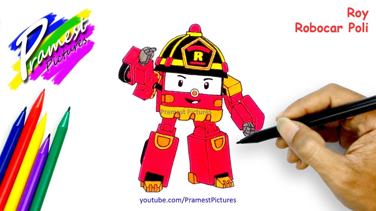 How To Draw Roy Robocar Poli Coloring Pages
