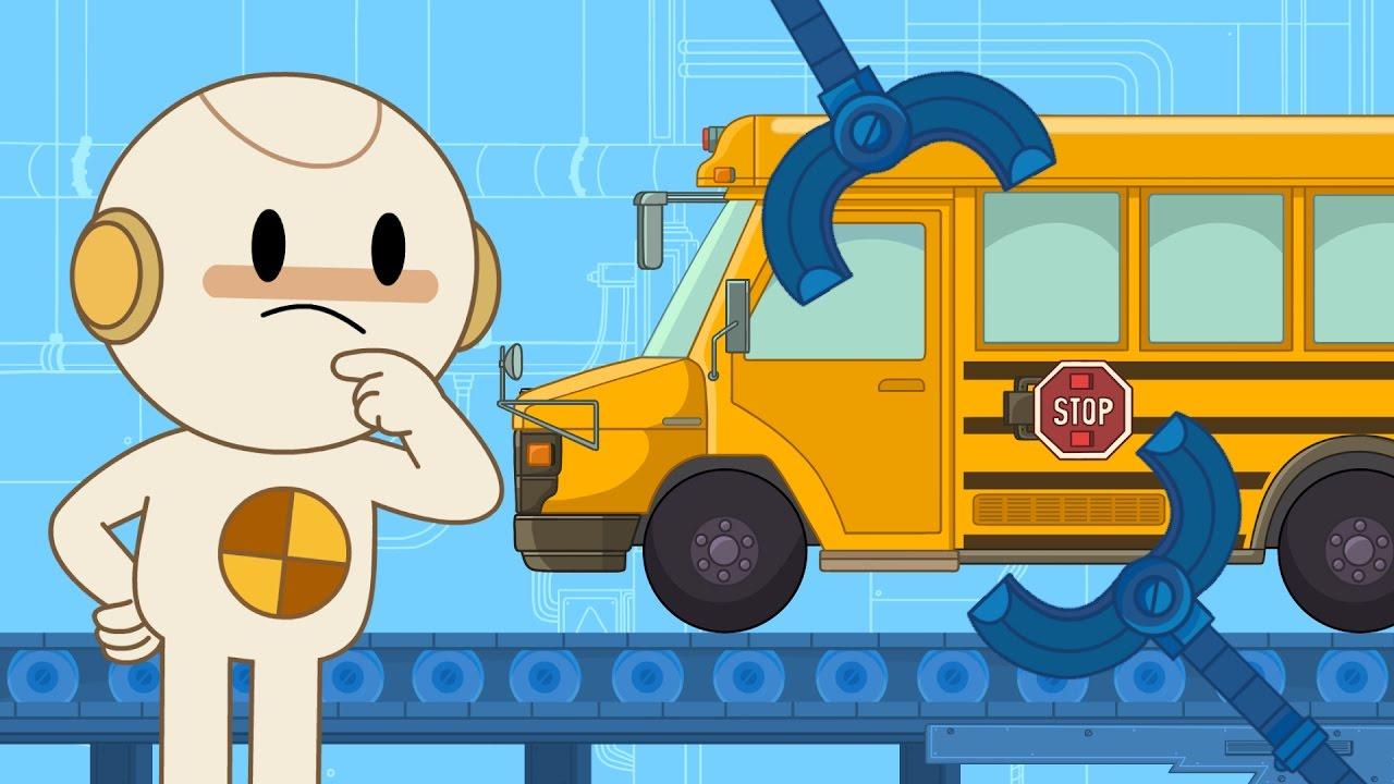 School Bus Finley S Factory Ep 2 Cartoon For Kids Youtube