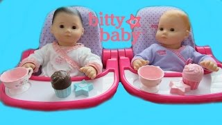 American Girl Bitty Baby Doll Daphnee and Strawberry have a Tea Party with Elsa