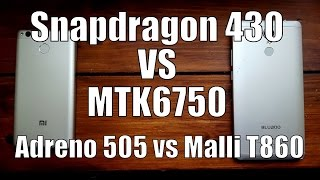 Snapdragon 430 vs MTK6750 speed test/benchmark/comparison/gaming(Adreno 505 vs Mali T860mp2 GPU)