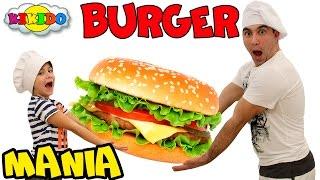 ЧЕЛЛЕНДЖ Бургер Мания. Кто быстрей соберет мини бургеры. Видео для детей. Burger mania. Кикидо