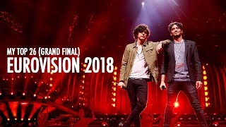 MY TOP 26 EUROVISION SONG CONTEST 2018 [with comments!]