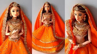 Barbie doll LEHENGA CHOLI | How to decorate a doll with indian bridal dress/jewellery | Doll Lehenga