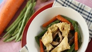Bean Curd Sticks with Chinese Black Mushrooms and Green Beans