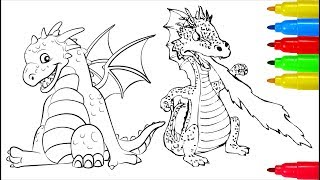 Dragons Coloring Pages | Colouring Pages For Kids With Colored Markers