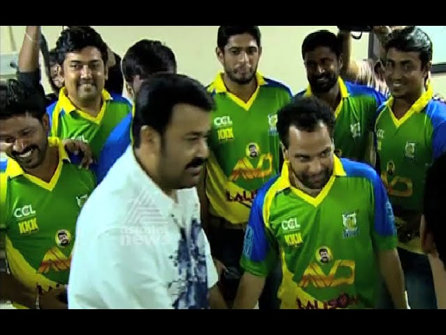 Mohanlal with (AMMA Kerala Strickers) Kerala CCl players | 6th Celebrity Cricket League