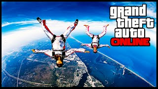 GTA 5 Next Gen - FIRST PERSON SKYDIVING FROM HIGHEST POINT POSSIBLE! (GTA 5 Online Gameplay)