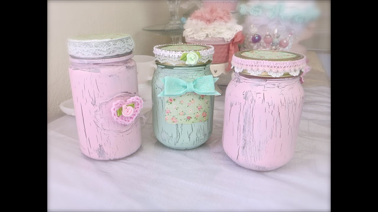 Cheap And Chic: Paint Crackled Mason Jars