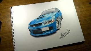 Drawing Mitsubishi Lancer evo 9 [JDM]