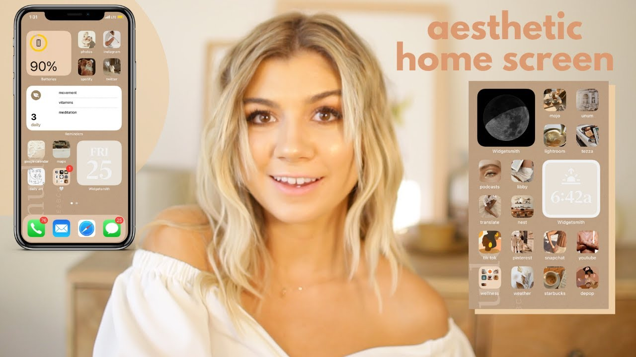 Aesthetic Ios14 Home Screen Tutorial Warm And Neutrals Step By Step Themed Iphone Background Youtube