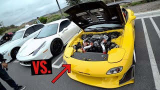 WIDEBODY RX-7 TAKES ON MY FERRARI...