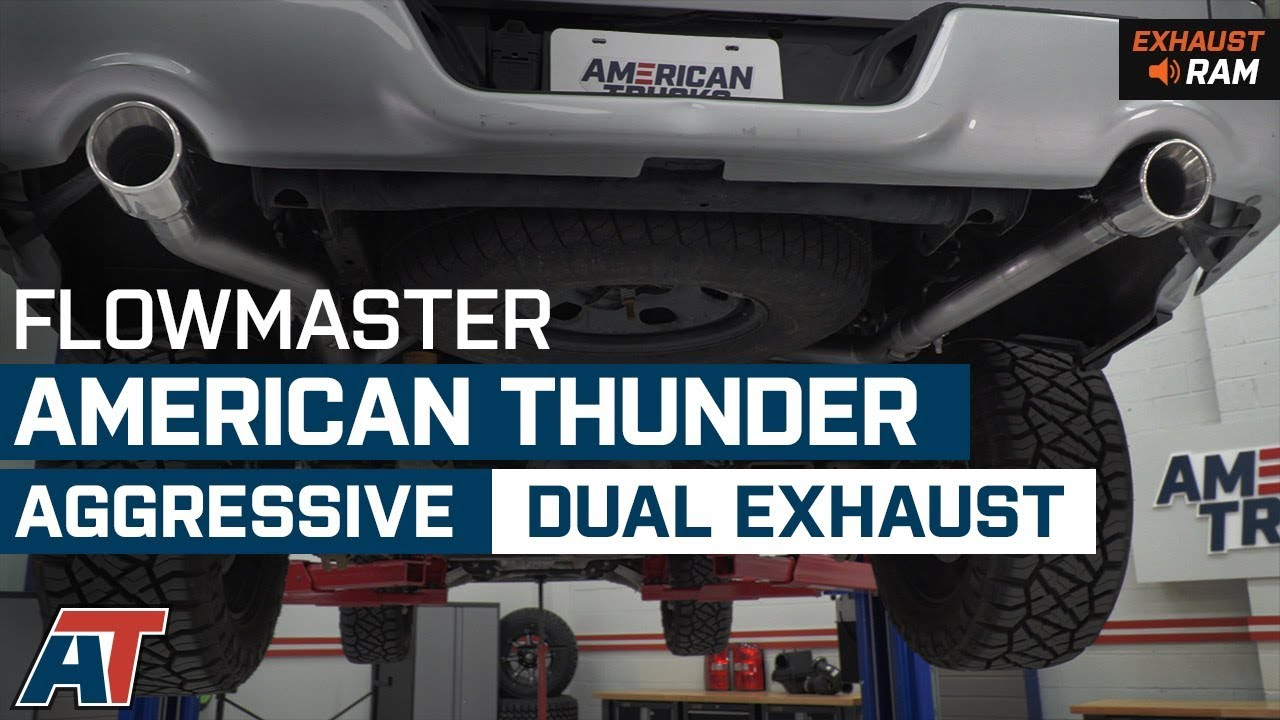 2009-2018 Ram 1500 Flowmaster American Thunder Aggressive Dual Exhaust 5 7L  Sound Clip & Install