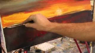 Закат на реке Макс Скоблинский уроки Живописии обучение Skoblinsky